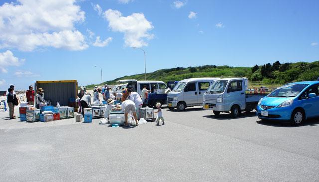 沖縄っぽい風景! 写真ではの〜んびりしてますが、実はテキパキ動く組合員さんたち